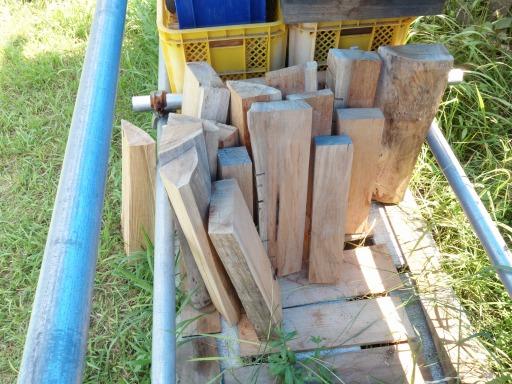 薪用に製材したケヤキ材