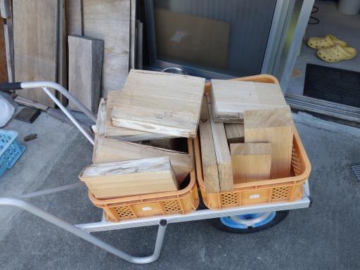 薪に加工するケヤキ材